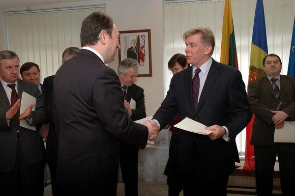 Inmanarea Scrisorii de Recunostinta pentru sustinerea independentei Lituaniei